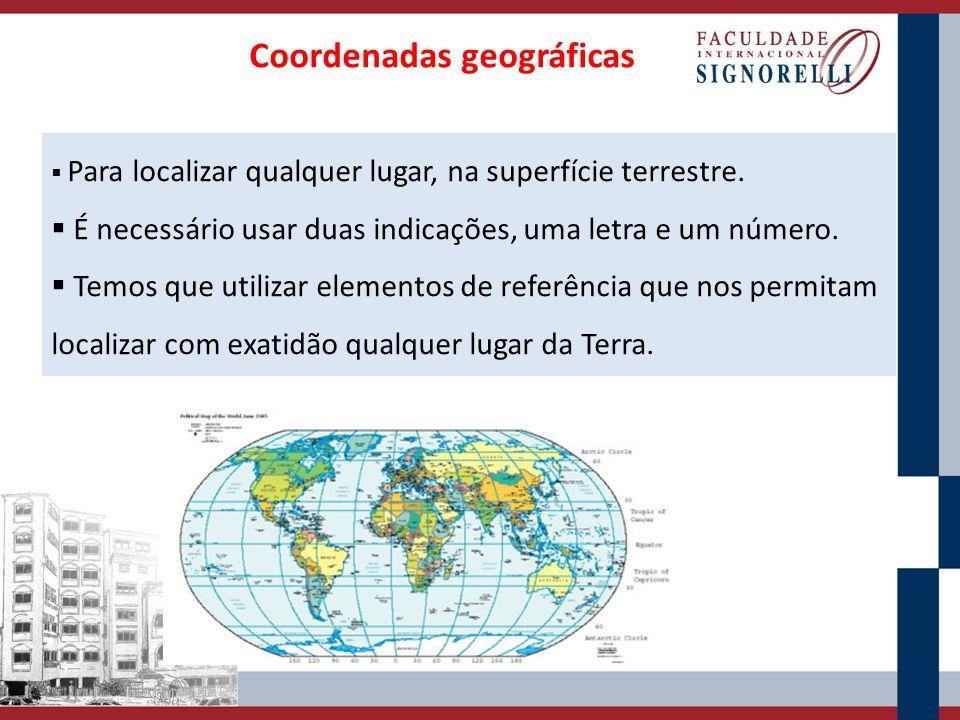 Coordenadas geográficas  Para localizar qualquer lugar, na superfície terrestre.  É necessário usar duas indicações, uma letra e um número.  Temos