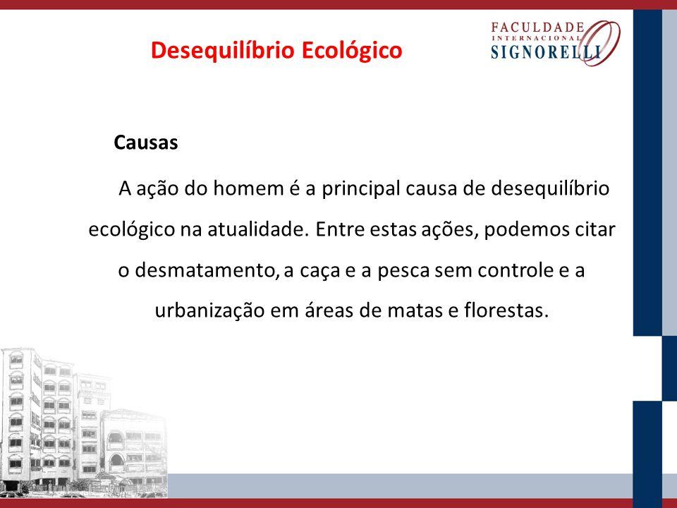 Causas A ação do homem é a principal causa de desequilíbrio ecológico na atualidade. Entre estas ações, podemos citar o desmatamento, a caça e a pesca