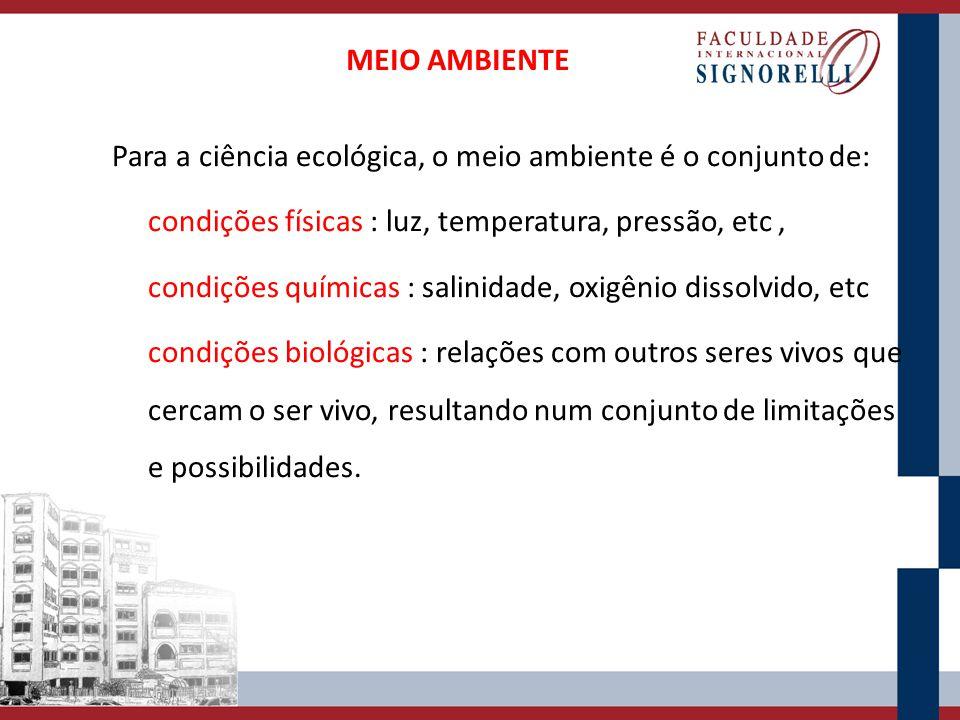 Para a ciência ecológica, o meio ambiente é o conjunto de: condições físicas : luz, temperatura, pressão, etc, condições químicas : salinidade, oxigên