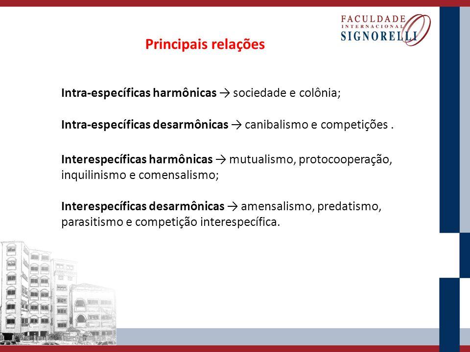 Intra-específicas harmônicas → sociedade e colônia; Intra-específicas desarmônicas → canibalismo e competições. Interespecíficas harmônicas → mutualis
