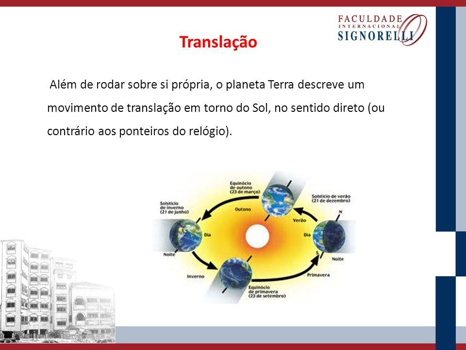 Além de rodar sobre si própria, o planeta Terra descreve um movimento de translação em torno do Sol, no sentido direto (ou contrário aos ponteiros do