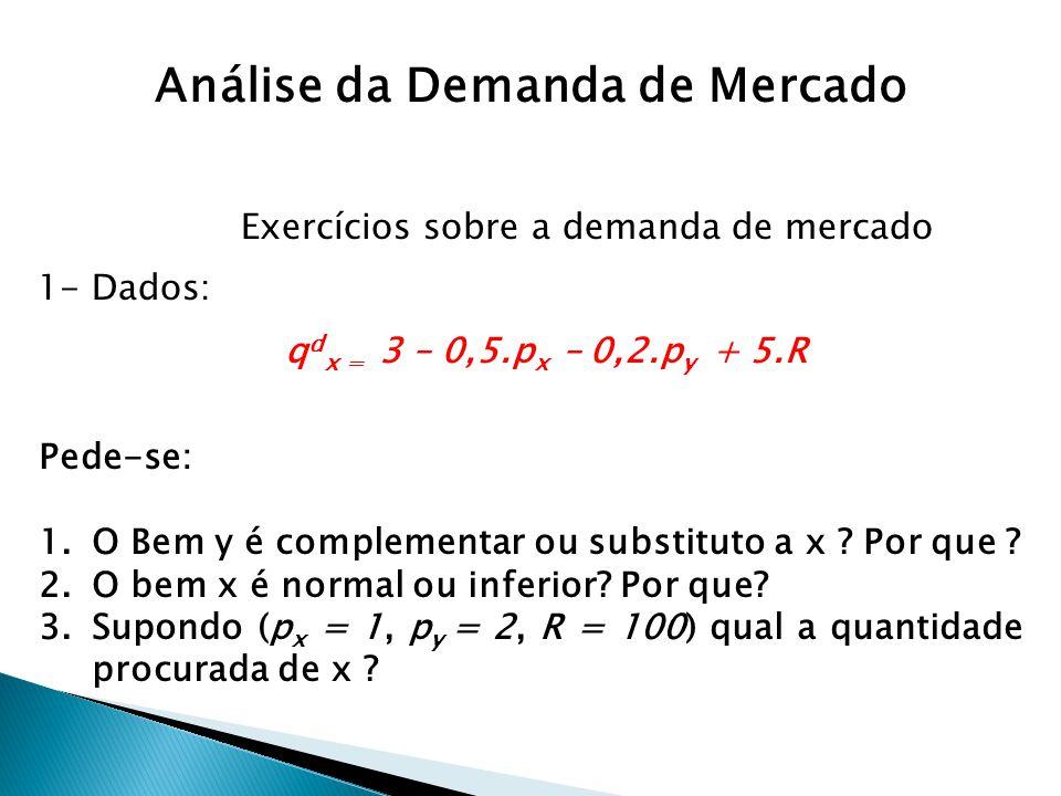 Exercícios sobre a demanda de mercado q d x = 3 – 0,5.p x – 0,2.p y + 5.R 1- Dados: Pede-se: 1.O Bem y é complementar ou substituto a x ? Por que ? 2.