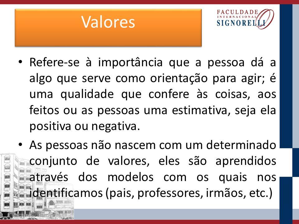 Valores Refere-se à importância que a pessoa dá a algo que serve como orientação para agir; é uma qualidade que confere às coisas, aos feitos ou as pe