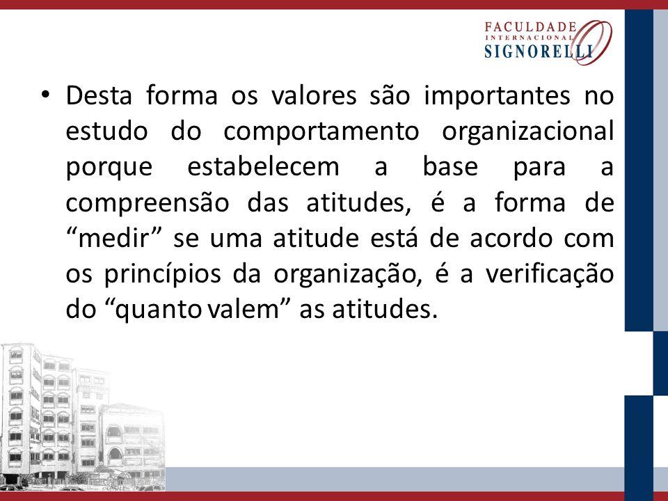 Desta forma os valores são importantes no estudo do comportamento organizacional porque estabelecem a base para a compreensão das atitudes, é a forma