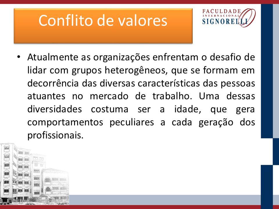 Conflito de valores Atualmente as organizações enfrentam o desafio de lidar com grupos heterogêneos, que se formam em decorrência das diversas caracte