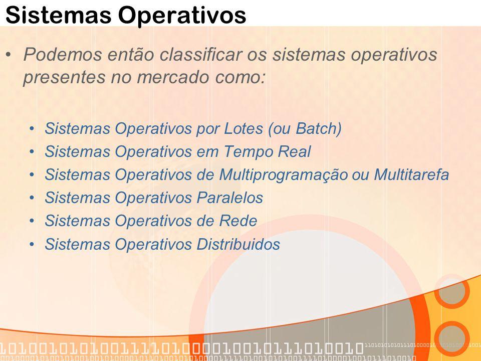 Sistemas Operativos Podemos então classificar os sistemas operativos presentes no mercado como: Sistemas Operativos por Lotes (ou Batch) Sistemas Oper
