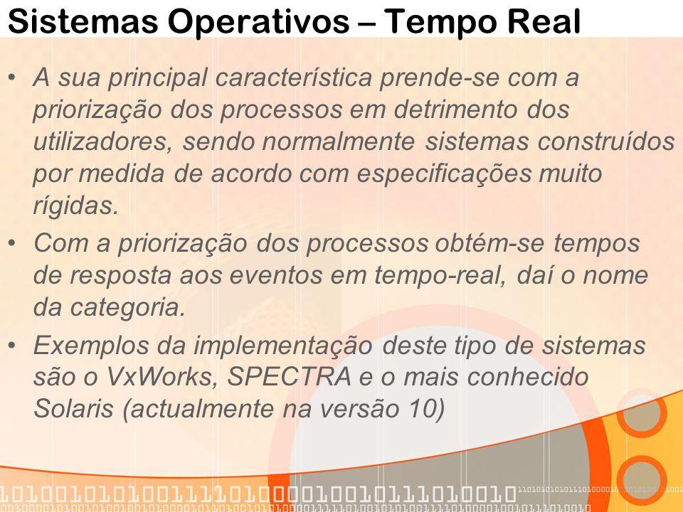 Sistemas Operativos – Tempo Real A sua principal característica prende-se com a priorização dos processos em detrimento dos utilizadores, sendo normal