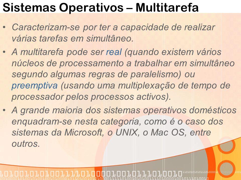 Sistemas Operativos – Multitarefa Caracterizam-se por ter a capacidade de realizar várias tarefas em simultâneo. A multitarefa pode ser real (quando e