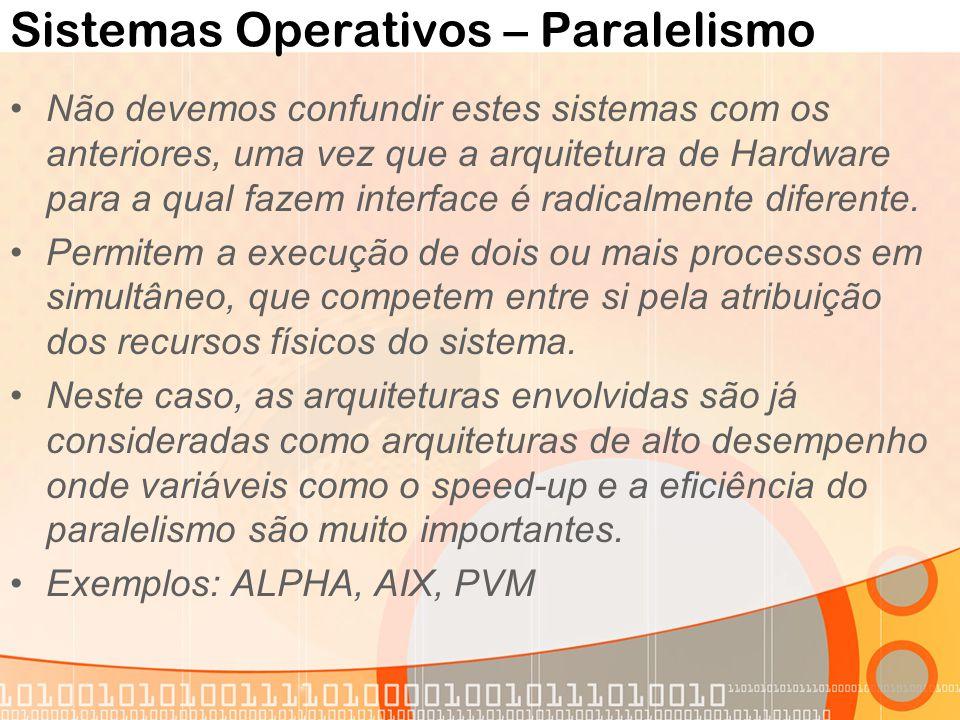 Sistemas Operativos – Paralelismo Não devemos confundir estes sistemas com os anteriores, uma vez que a arquitetura de Hardware para a qual fazem inte