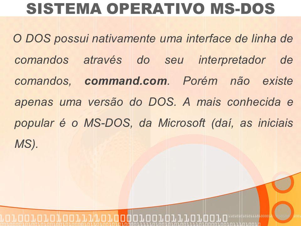 O DOS possui nativamente uma interface de linha de comandos através do seu interpretador de comandos, command.com. Porém não existe apenas uma versão