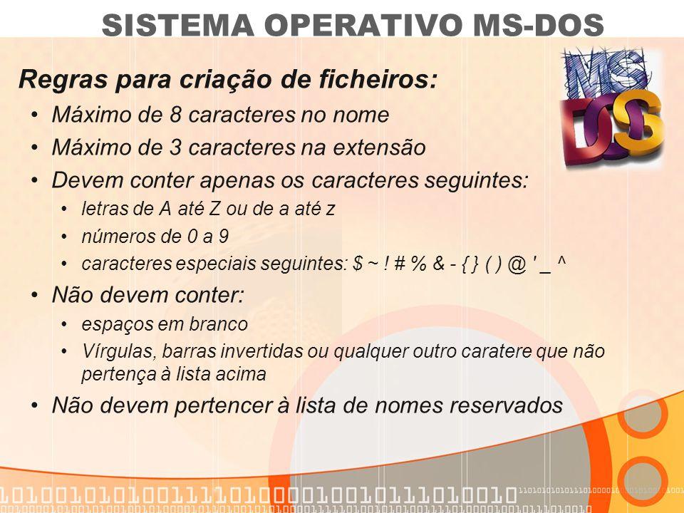 Extensões dos ficheiros: A extensão serve para definir o tipo de ficheiro: SISTEMA OPERATIVO MS-DOS