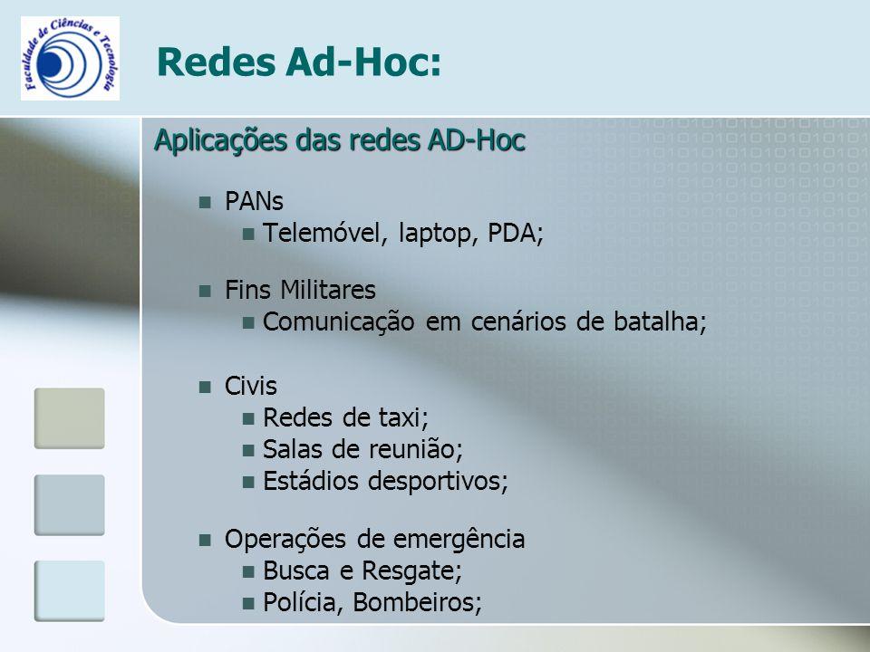Aplicações das redes AD-Hoc PANs Telemóvel, laptop, PDA; Fins Militares Comunicação em cenários de batalha; Civis Redes de taxi; Salas de reunião; Est