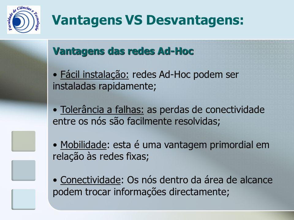 Vantagens VS Desvantagens: Vantagens das redes Ad-Hoc Fácil instalação: redes Ad-Hoc podem ser instaladas rapidamente; Tolerância a falhas: as perdas