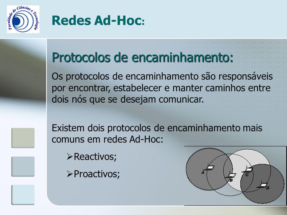 Redes Ad-Hoc : Protocolos de encaminhamento: Os protocolos de encaminhamento são responsáveis por encontrar, estabelecer e manter caminhos entre dois