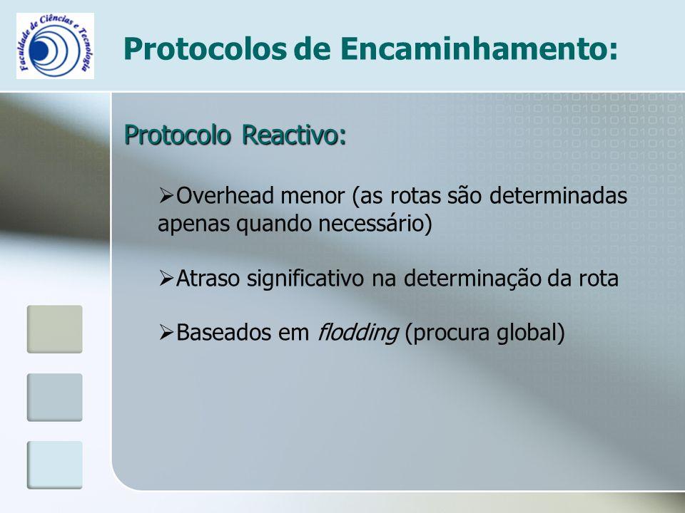 Protocolos de Encaminhamento: Protocolo Reactivo:  Overhead menor (as rotas são determinadas apenas quando necessário)  Atraso significativo na dete