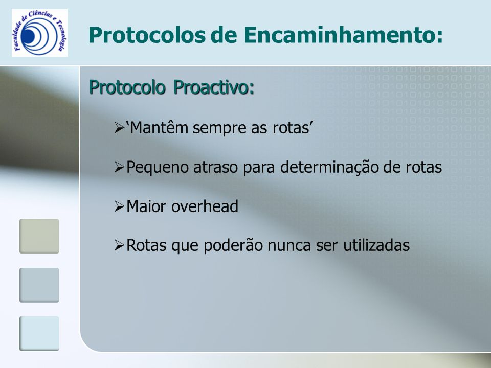 Protocolos de Encaminhamento: Protocolo Proactivo:  'Mantêm sempre as rotas'  Pequeno atraso para determinação de rotas  Maior overhead  Rotas que