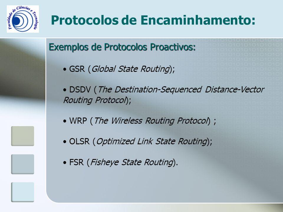 Protocolos de Encaminhamento: Exemplos de Protocolos Proactivos: GSR (Global State Routing); DSDV (The Destination-Sequenced Distance-Vector Routing P