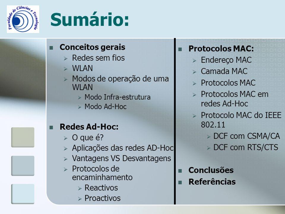 Sumário: Conceitos gerais  Redes sem fios  WLAN  Modos de operação de uma WLAN  Modo Infra-estrutura  Modo Ad-Hoc Redes Ad-Hoc:  O que é?  Apli