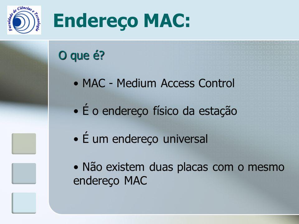 Endereço MAC: O que é? MAC - Medium Access Control É o endereço físico da estação É um endereço universal Não existem duas placas com o mesmo endereço