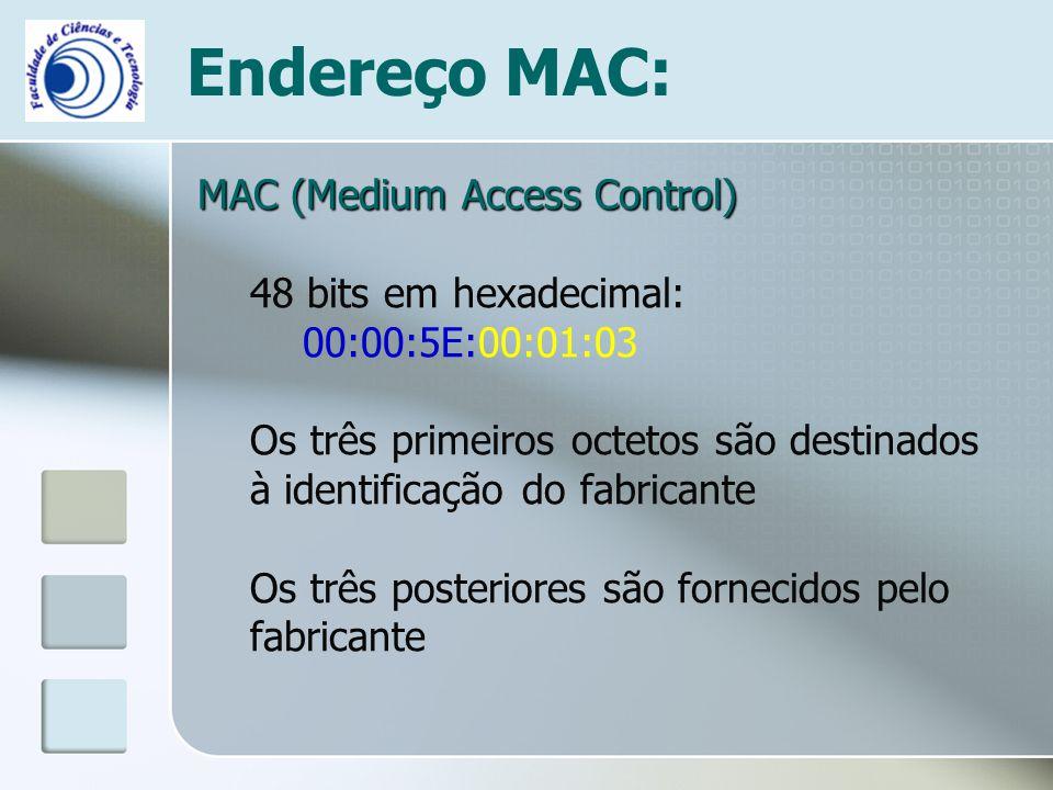 Endereço MAC: MAC (Medium Access Control) 48 bits em hexadecimal: 00:00:5E:00:01:03 Os três primeiros octetos são destinados à identificação do fabric