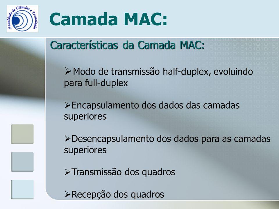Camada MAC: Características da Camada MAC:  Modo de transmissão half-duplex, evoluindo para full-duplex  Encapsulamento dos dados das camadas superi