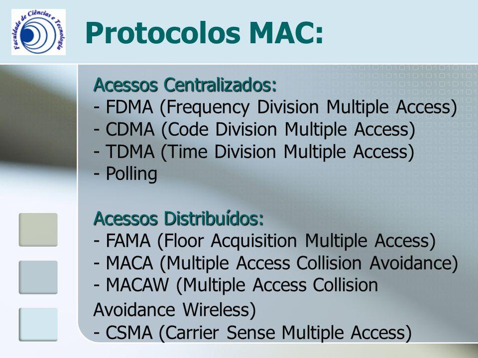 Protocolos MAC: Acessos Centralizados: - FDMA (Frequency Division Multiple Access) - CDMA (Code Division Multiple Access) - TDMA (Time Division Multip
