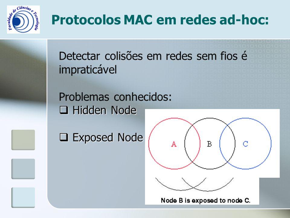 Protocolos MAC em redes ad-hoc: Detectar colisões em redes sem fios é impraticável Problemas conhecidos:  Hidden Node  Exposed Node