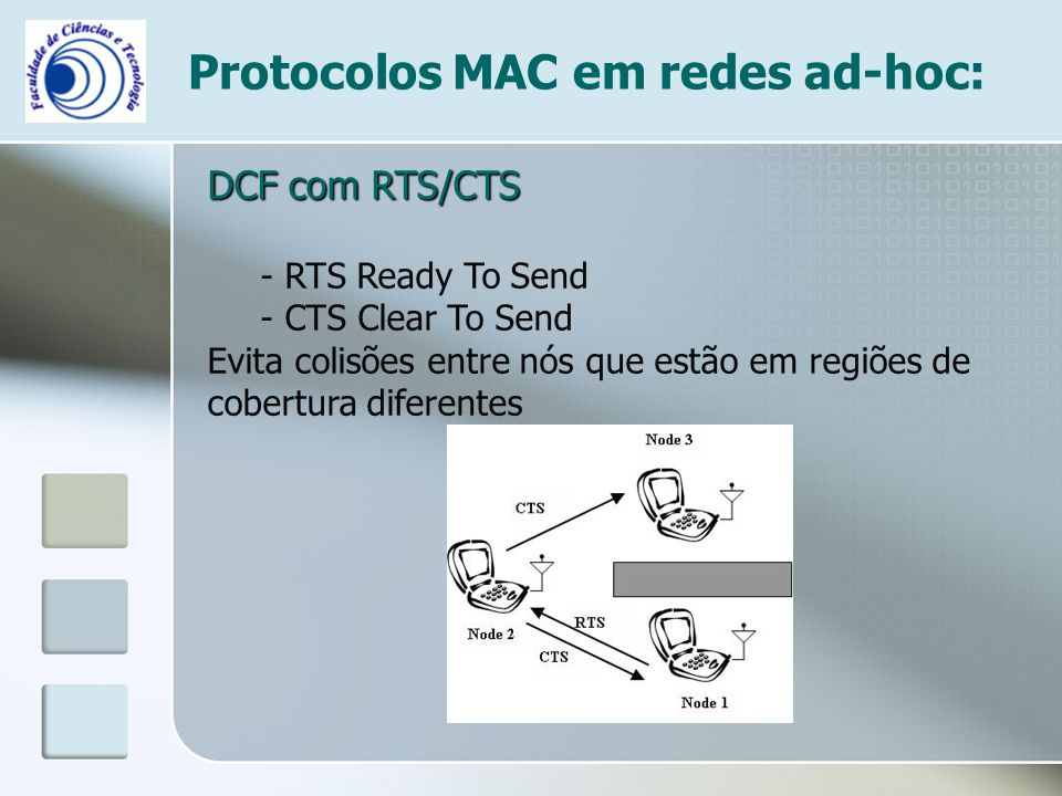 Protocolos MAC em redes ad-hoc: DCF com RTS/CTS - RTS Ready To Send - CTS Clear To Send Evita colisões entre nós que estão em regiões de cobertura dif