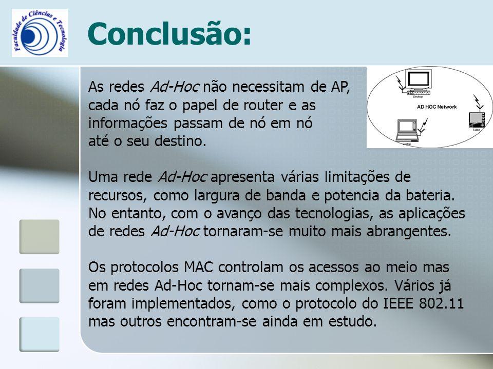 Conclusão: As redes Ad-Hoc não necessitam de AP, cada nó faz o papel de router e as informações passam de nó em nó até o seu destino. Uma rede Ad-Hoc