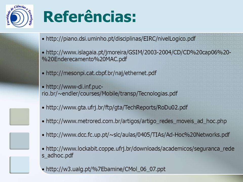 Referências: http://piano.dsi.uminho.pt/disciplinas/EIRC/nivelLogico.pdf http://www.islagaia.pt/jmoreira/GSIM/2003-2004/CD/CD%20cap06%20- %20Enderecam