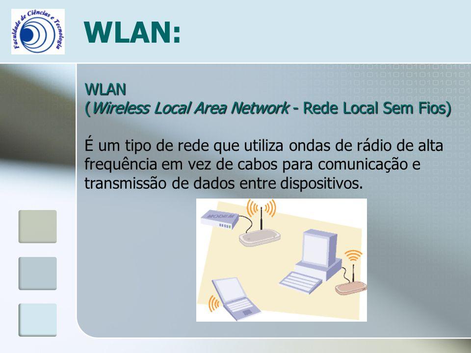 WLAN: WLAN (Wireless Local Area Network - Rede Local Sem Fios) É um tipo de rede que utiliza ondas de rádio de alta frequência em vez de cabos para co