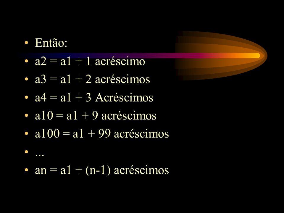 Então: a2 = a1 + 1 acréscimo a3 = a1 + 2 acréscimos a4 = a1 + 3 Acréscimos a10 = a1 + 9 acréscimos a100 = a1 + 99 acréscimos... an = a1 + (n-1) acrésc