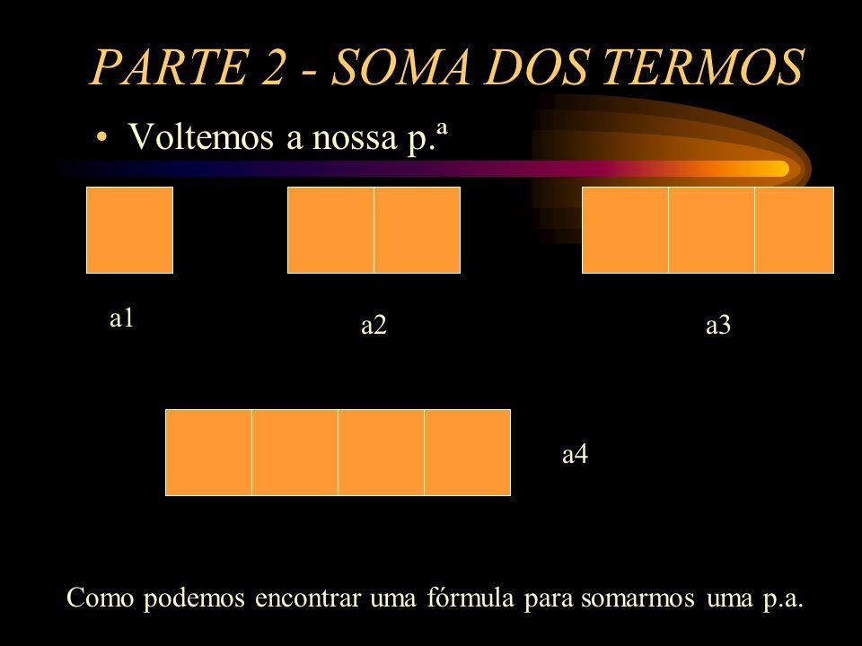 PARTE 2 - SOMA DOS TERMOS Voltemos a nossa p.ª a1 a2a3 a4 Como podemos encontrar uma fórmula para somarmos uma p.a.