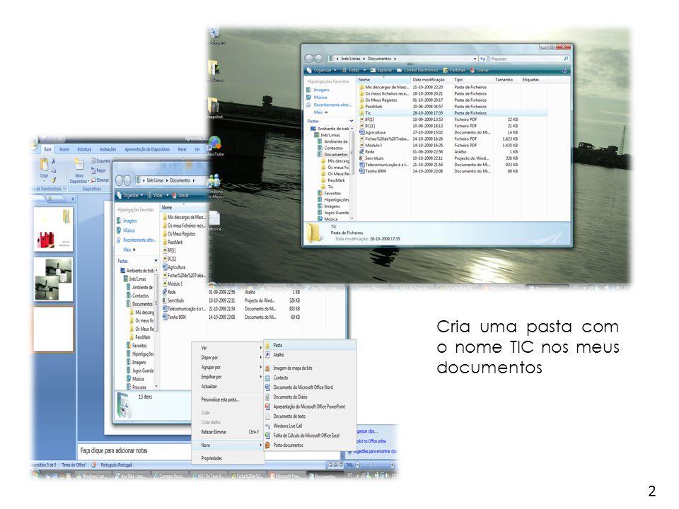 2 Cria uma pasta com o nome TIC nos meus documentos