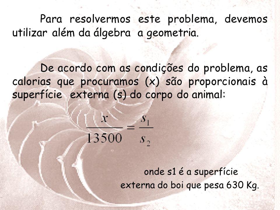 Os Logaritmos no Curral O consumo da ração alimentícia bovina é proporcional à superfície externa do corpo do animal. Sabendo-se que um boi que pesa a