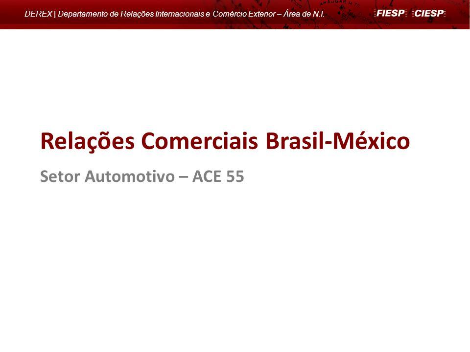 Setor Automotivo – ACE 55 Relações Comerciais Brasil-México DEREX | Departamento de Relações Internacionais e Comércio Exterior – Área de N.I.