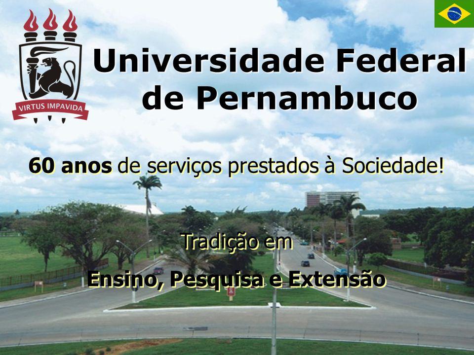 Universidade Federal de Pernambuco 60 anos de serviços prestados à Sociedade! Tradição em Ensino, Pesquisa e Extensão 60 anos de serviços prestados à