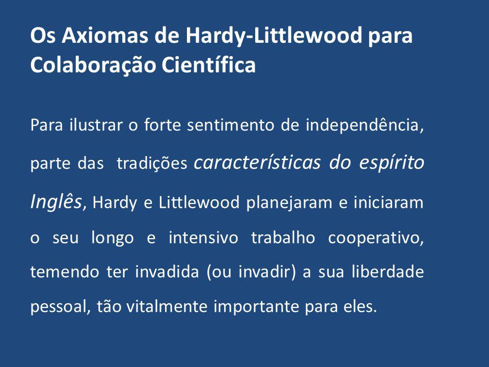 SEMINÁRIO SEMINÁRIO Grupo de pesquisa em processamento de sinais Sobre colaborações científicas: Axiomas de Hardy e Littlewood e outras colaborações frutuosas.