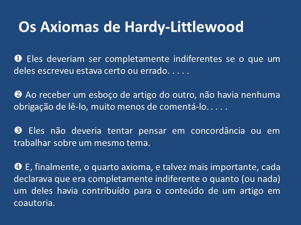 Hardy-Littlewood: Colaboração Científica E, como medida de segurança... eles se divertiram, formulando os chamados 'axiomas' de colaboração mútua. Hav