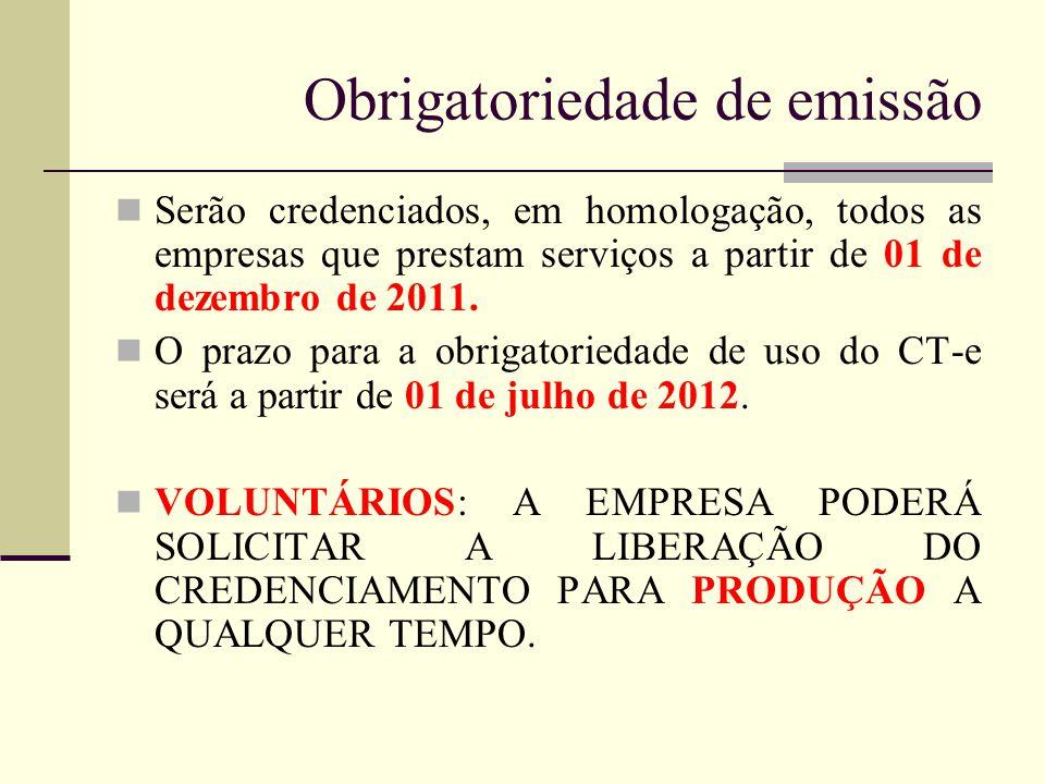 Obrigatoriedade de emissão Serão credenciados, em homologação, todos as empresas que prestam serviços a partir de 01 de dezembro de 2011. O prazo para