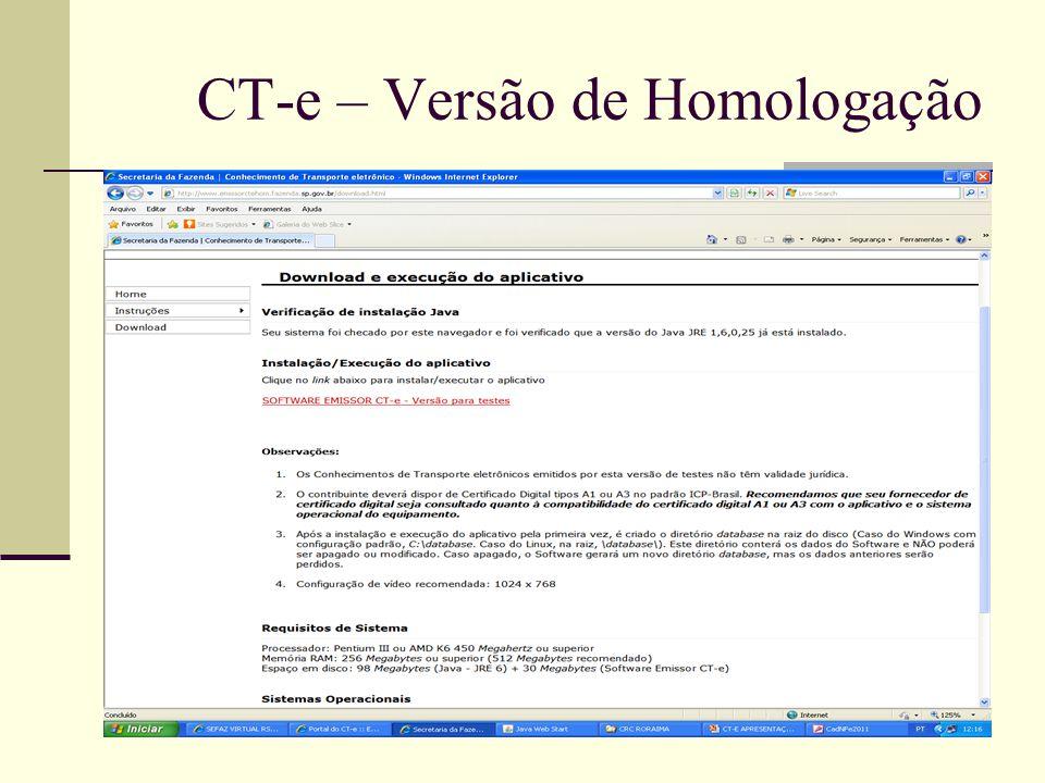 CT-e – Versão de Homologação
