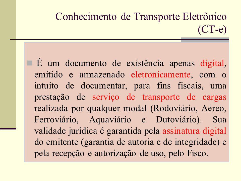 Documentos que o CT-e substitui: Conhecimento de Transporte Rodoviário de Cargas, modelo 8.