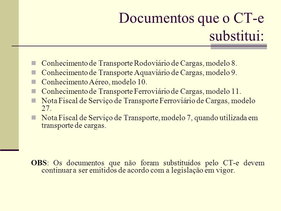 Documentos que o CT-e substitui: Conhecimento de Transporte Rodoviário de Cargas, modelo 8. Conhecimento de Transporte Aquaviário de Cargas, modelo 9.