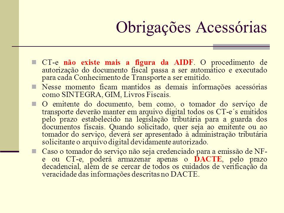 Obrigações Acessórias CT-e não existe mais a figura da AIDF. O procedimento de autorização do documento fiscal passa a ser automático e executado para