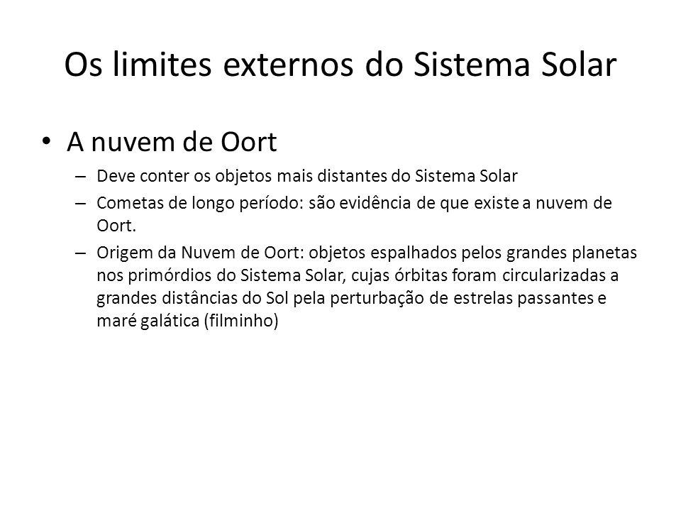 Os limites externos do Sistema Solar A nuvem de Oort – Deve conter os objetos mais distantes do Sistema Solar – Cometas de longo período: são evidência de que existe a nuvem de Oort.