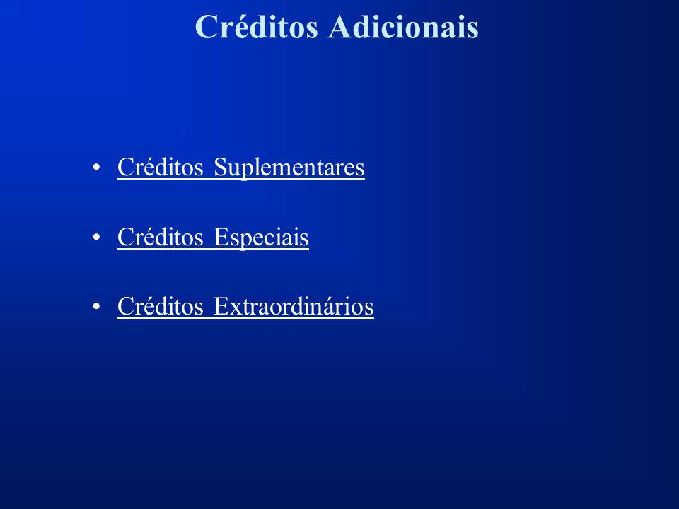 Créditos Adicionais Créditos Suplementares Créditos Especiais Créditos Extraordinários
