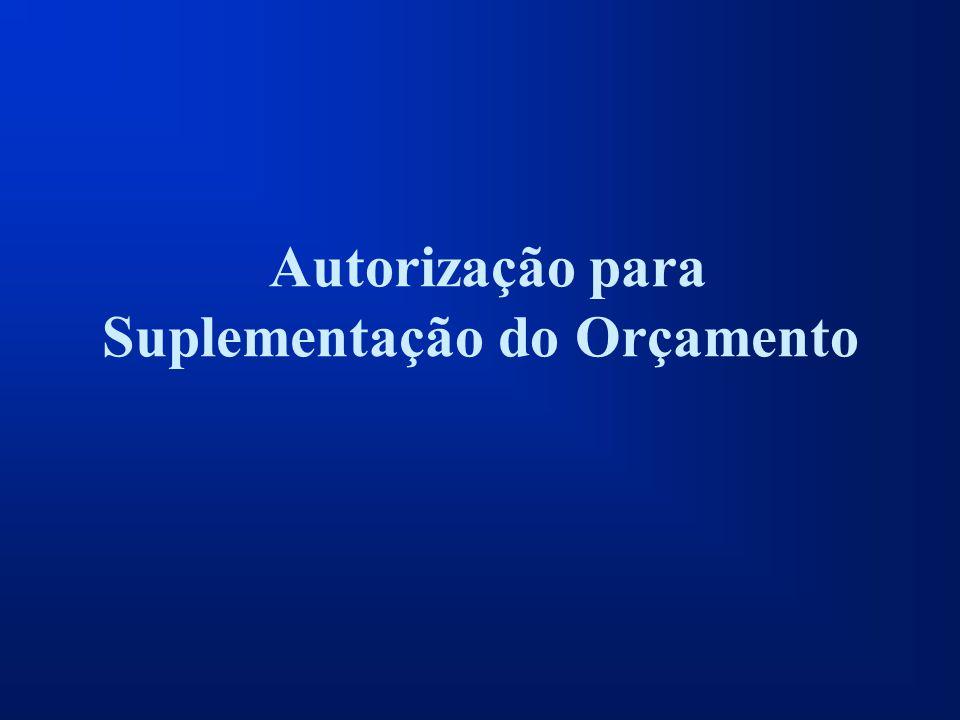 Autorização para Suplementação do Orçamento