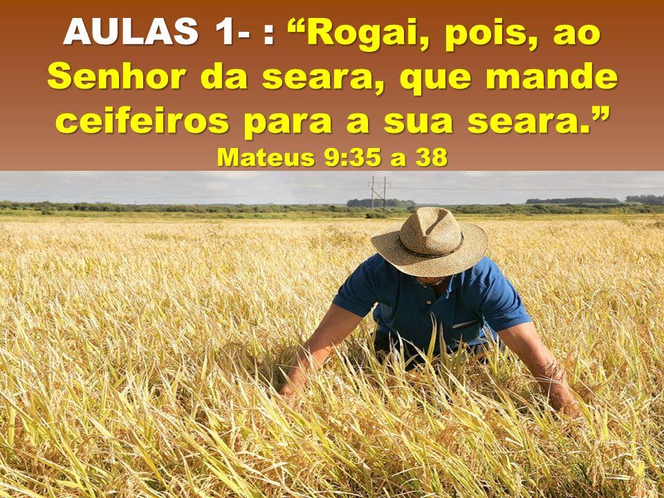 "AULAS 1- : ""Rogai, pois, ao Senhor da seara, que mande ceifeiros para a sua seara."" Mateus 9:35 a 38"