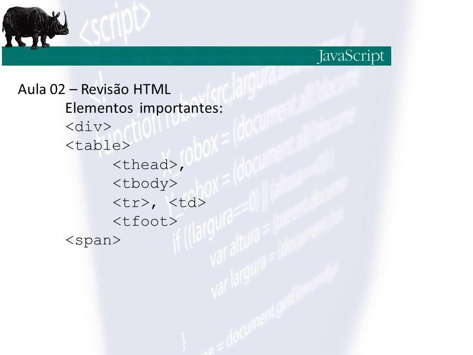 Aula 02 – Revisão HTML Elementos importantes:,,