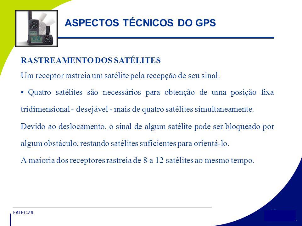 FATEC-ZS 18 ASPECTOS TÉCNICOS DO GPS RASTREAMENTO DOS SATÉLITES Um receptor rastreia um satélite pela recepção de seu sinal.